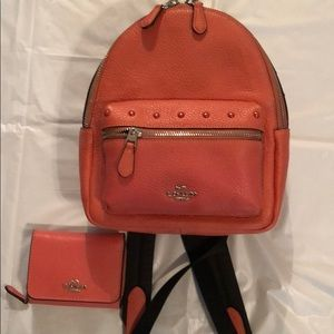 Like new coach backpack and wallet
